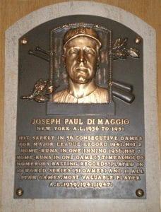 Joe Dimaggio HOF plaque